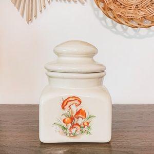 Vintage Mushroom Retro Ceramic Cookie Jar Canister